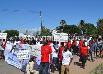 Malawian journalists celebrating World Press Freedom Day  in Mangochi last year