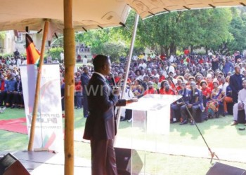 Bushiri addresses the crowd that gathered for the special prayers