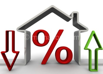 Red percent symbol inside the symbolic house. The arrow shows the rise and fall of percent. Financial concept