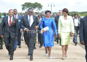 In happier times: Mutharika  and Chilima after their 2014 victory