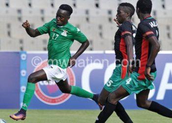 Malawi (in black) facing Zambia at 2017 Under-20 Cosafa Championship