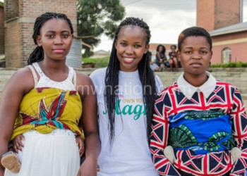 Ukani president Emma Gondwe (C) with some of the young mothers