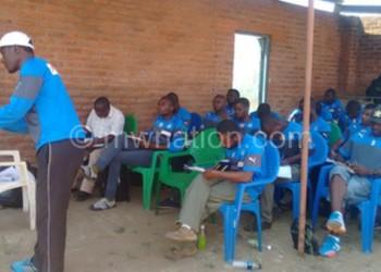 Kumwenda drilling the participants