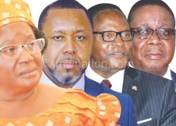 To go it alone? (L-R) Banda Chilima, Chakwera and Mutharika