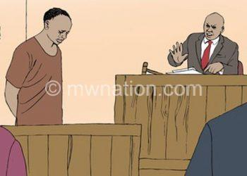 An artist's illustration depicting a court proceeding