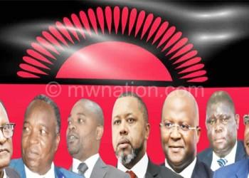 From L to R: Chakwera, Chisi, Kuwani, Chilima, Muluzi, Kaliya and Mutharika