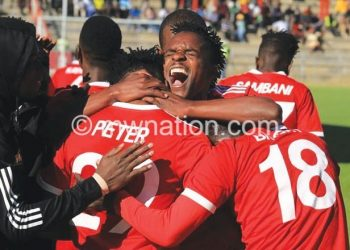 Bullets celebrate a goal at Kamuzu Stadium last season