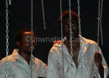 Chirwa (L) and Tembo captured in rehearsal