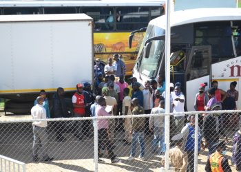 Some of the people who arrived from South Africa at Kamuzu Stadium on Tuesday