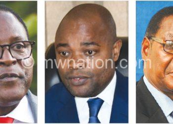 The fresh election torch-bearers: (L-R) Chakwera, Kuwani and Mutharika