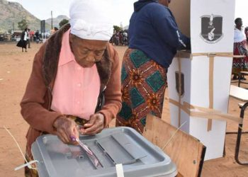 A woman votes in a past election