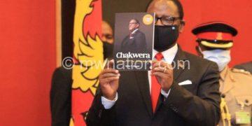 Chakwera hoists his biography authored by Zingani