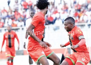 Flames' 'CJ' Banda (R) and Chester raid South Sudan's half in their opening qualifier
