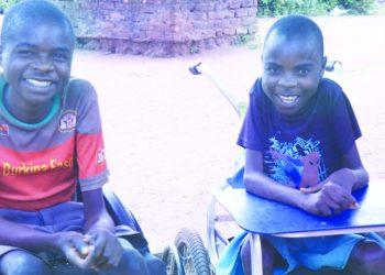 Jolatani (L) and Yakweniya during a school break