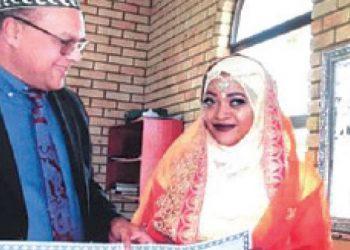 Mia and Fatra on their wedding day